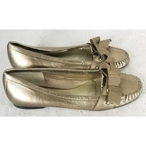 Talbots Leather Bow Flats Shoes Sz 6.5 Comfy